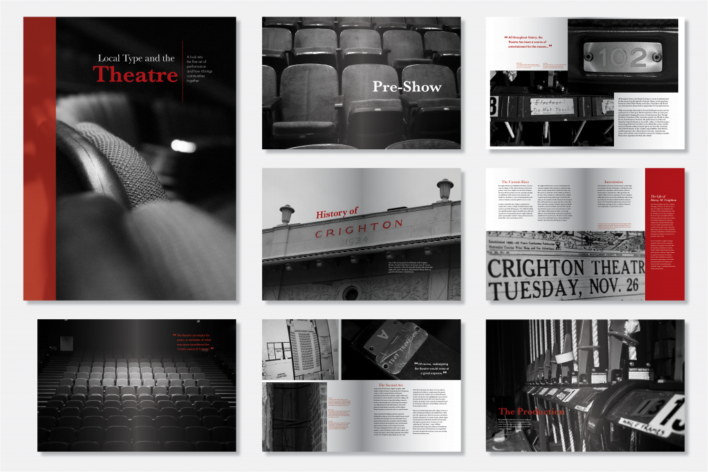 An image of 7 book page spreads and the book's covered, including black and white images with red highlights, and text on each page