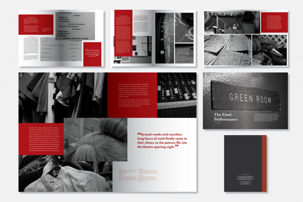 An image of 5 book page spreads and the book's covered, including black and white images with red highlights, and text on each page, with one page larger than the others to highlight it